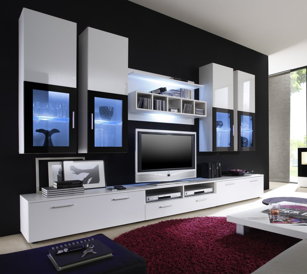 Wohnwand modern Lowboard weiße Fronten Schrank hängend