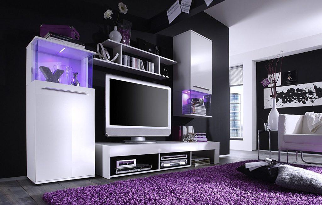 Wohnwand modern Lowboard weiße Fronten Schrank hängend hochglanz