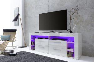 Lowboard Hochglanz weiße Fronten mit LED